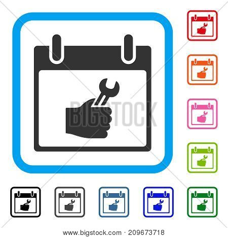 Wrench Service Hand Calendar Day icon. Flat grey iconic symbol in a light blue rounded square. Black, gray, green, blue, red,