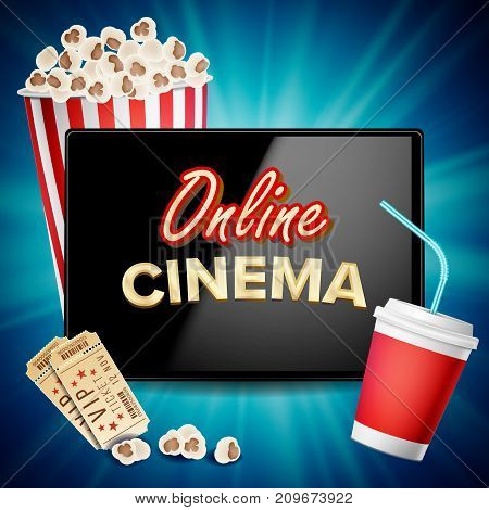 Online Cinema Vector. Banner With Tablet. Cinema Concept Design Template. Cinema Billboard, Signage, Marketing Luxury Poster Illustration.