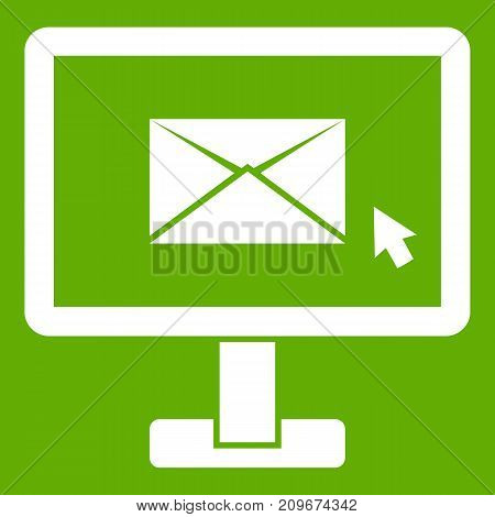 Monitor with email sign icon white isolated on green background. Vector illustration