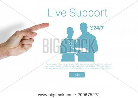 Cropped hand of man pointing against live support text with human representations
