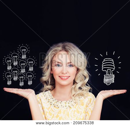 Energy saving concept. Woman with traditional and energy efficient light bulbs. Orange old generation bulb and white energy saving bulb