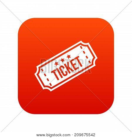 Movie ticket icon digital red for any design isolated on white vector illustration