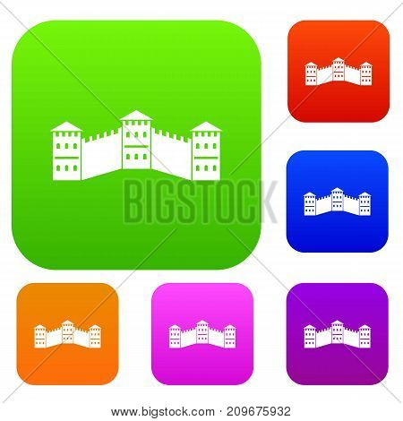 Great Wall of China set icon color in flat style isolated on white. Collection sings vector illustration