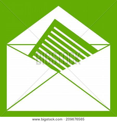 Open envelope with sheet of paper icon white isolated on green background. Vector illustration