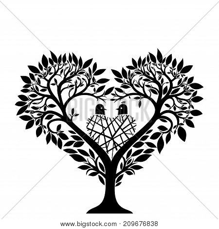 Tree in the form of a heart and a nest with a couple of birds. Silhouette. Vector illustration