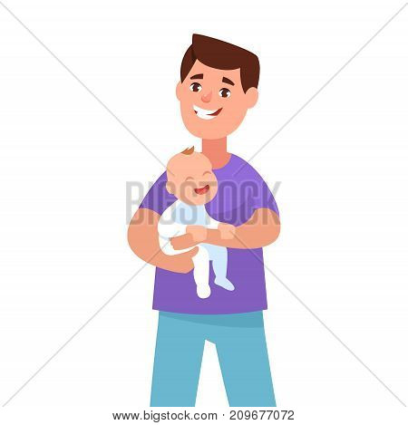 Vector illustration happy young father holding his toddler cartoon style. Concept fatherhood and care. Single dad
