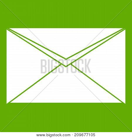 Closed envelope icon white isolated on green background. Vector illustration