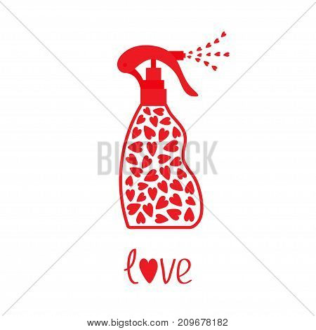 Spray bottle dispenser. Tube of cream with hearts inside. Body lotion shampoo gel. Love Heart drop falling down. Red line art packaging. Valentines day Isolated. White background. Flat design Vector