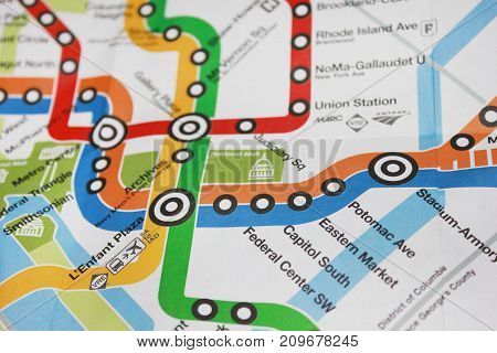 WASHINGTON DC, USA - JUNE 7: DC Metro Map. Part of the United States subway system on map, with colorful lines and downtown city stations.