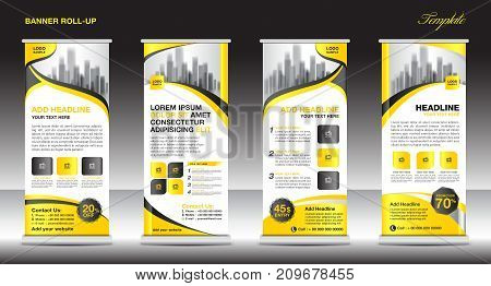 Roll up banner stand template design, Yellow banner layout, advertisement, pull up, vector illustration business flyer display x-banner flag-banner infographics presentation