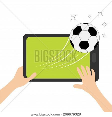 Two hands holding genering tablet PC gadget. Male female teen hand and black Tab with blank screen. Soccer ball flying from touch screen. Green grass field. Flat design. White background. Vector