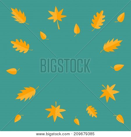 Autumn leaves frame. Yellow orange flying leaf set. Oak maple birch rowan. Wind moving objects. Template for decoration. Green background. Isolated Flat design. Vector illustration