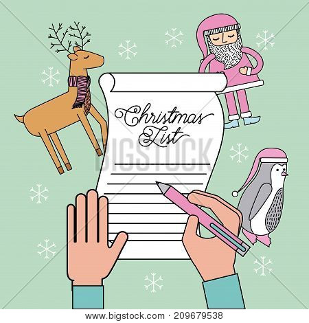 hand writing christmas list reindeer penguin and santa claus vector illustration