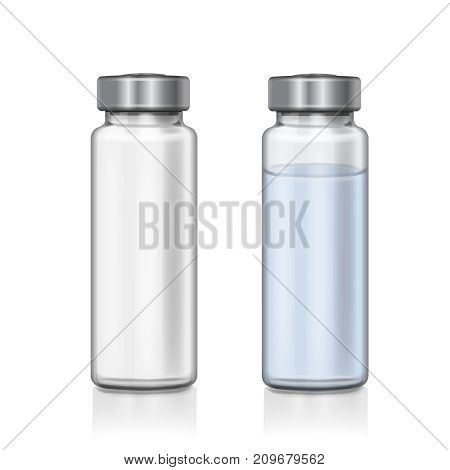 Transparent glass medical vial realistic 3d vector illustration.