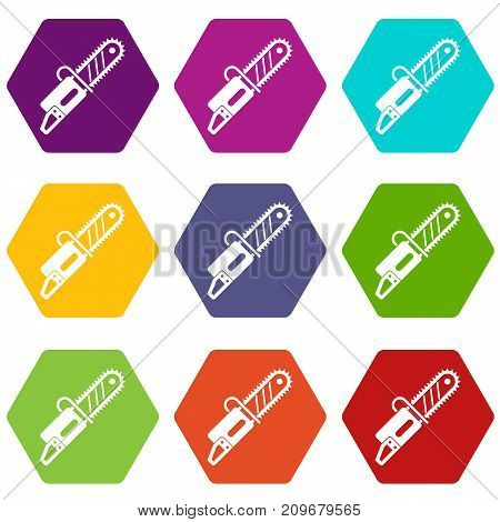 Chainsaw icon set many color hexahedron isolated on white vector illustration