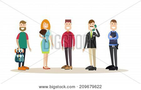 Vector illustration of hotel workers receptionist, chambermaid, porter, doorman, security guard and guest male. Hotel people flat style design elements, icons isolated on white background.