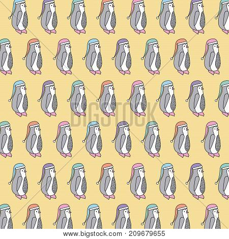 christmas penguin with hat decoraton seamless pattern vector illustration