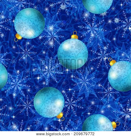Christmas Seamless Tile Background for Holiday Design with Blue Balls, Snowflakes and Stars. Eps10, Contains Transparencies. Vector