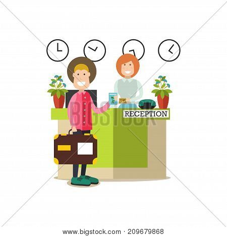 Vector illustration of hotel guest male paying for hotel services at reception. Hotel people flat style design element, icon isolated on white background.
