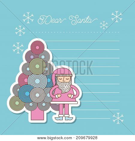christmas dear santa tree santa claus letter blank decoration vector illustration