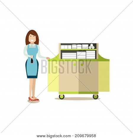 Hotel housemaid standing next to cart with clean bed linen and towels. Hotel people flat style design element, icon isolated on white background.