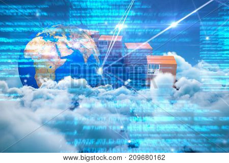 Digital composite image of cardboard boxes on conveyor belt by globe against idyllic view of cloudscape against sky