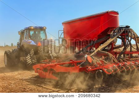 Tractor Working In The Field. Tractor Plow Field Agriculture.