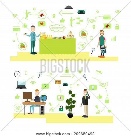 Vector illustration of diner male serving himself at hotel buffet, man making online reservation of hotel room. Hotel people flat style design elements, icons isolated on white background.