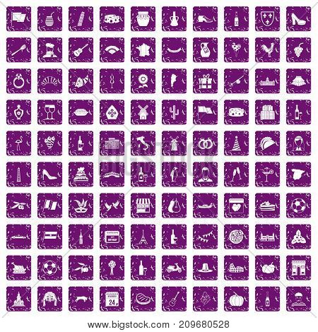 100 wine icons set in grunge style purple color isolated on white background vector illustration