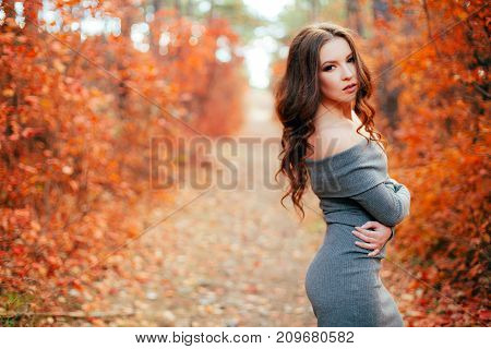 Young sexy woman with long hair in gray dress, in orange autumn forest.