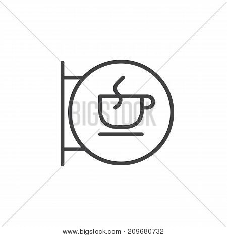 Coffee house sign line icon, outline vector sign, linear style pictogram isolated on white. Coffee cup in a circle symbol, logo illustration. Editable stroke