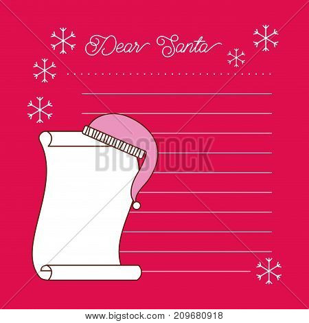Dear Santa letter space for text vector illustration