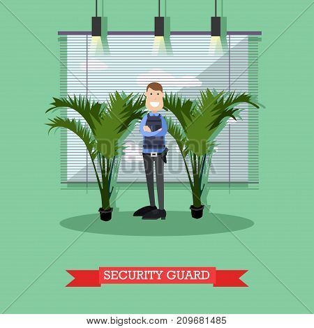 Vector illustration of armed man in uniform standing with arms crossed. Hotel security guard concept design element in flat style.