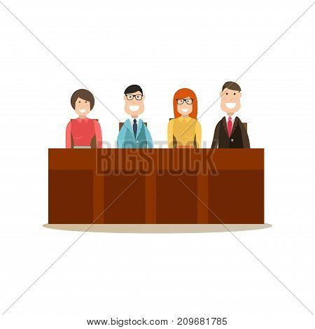 Vector illustration of group of people jury sitting at jury box. Law court people flat style design element, icon isolated on white background. poster