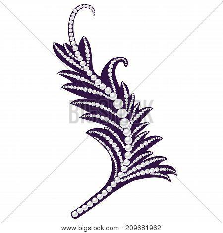 Jewelry Feather. Decorative Piece Of Jewelry