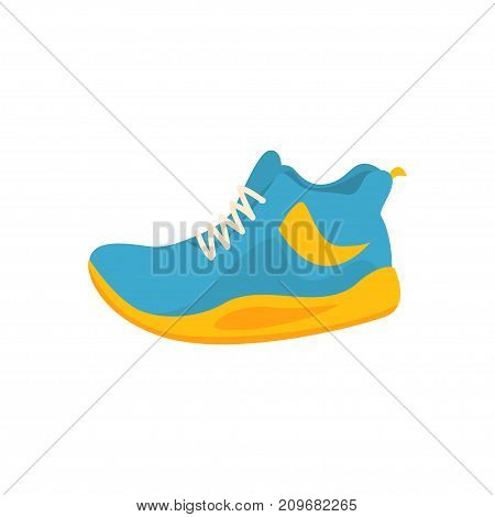 Blue and yellow sport sneakers icon in flat style. Fashion fitness shoes for active play. Footwear for running, training, volleyball. artoon flat vector illustration character isolated on white.