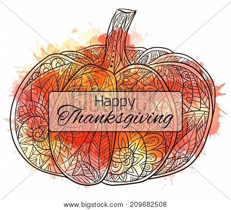 Thanksgiving day postcard with a pumpkin with a boho pattern and watercolor splashes. Happy Thanksgiving Day