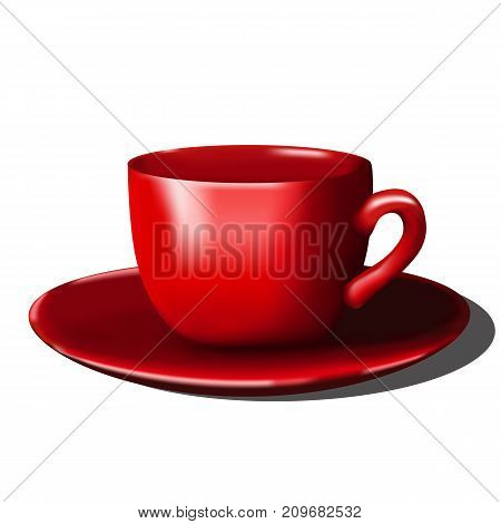 Red cup. Realistic cup on a white background.