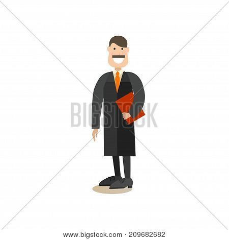 Vector illustration of professional judge in robe. Law court people flat style design element, icon isolated on white background.