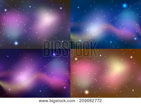 Set of space illustrations with stars and nebulae. Vector background for your creativity