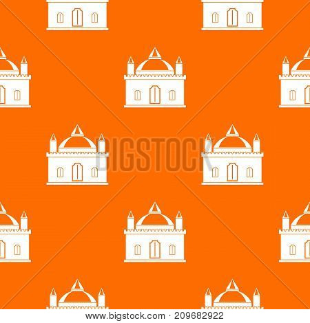 Royal castle pattern repeat seamless in orange color for any design. Vector geometric illustration