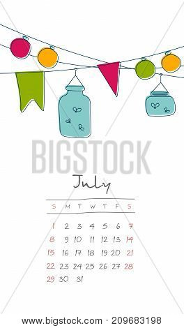 Calendar 2018 months July. Week starts from Sunday. Hand drawn with summer holiday eps 10