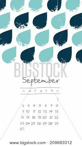 Calendar 2018 months September. Week starts from Sunday. Hand drawn with autumn rain eps 10