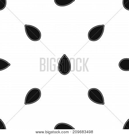Pumpkin seed pattern repeat seamless in black color for any design. Vector geometric illustration