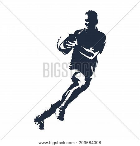 Rugby player running with ball, abstract vector silhouette. Team sport