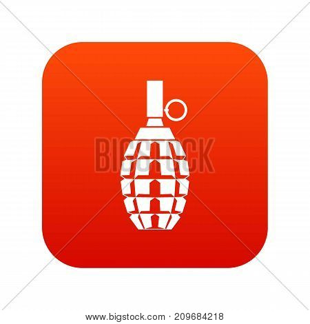 Grenade icon digital red for any design isolated on white vector illustration