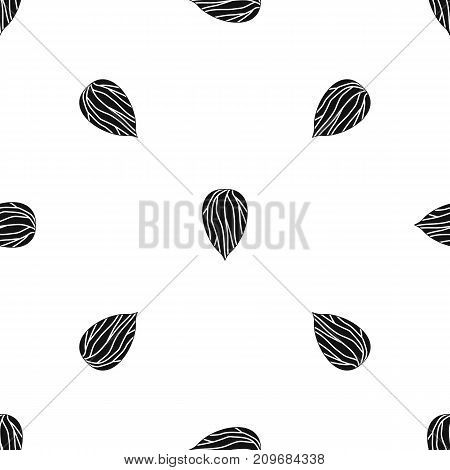 Apricot seed pattern repeat seamless in black color for any design. Vector geometric illustration