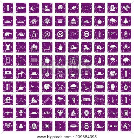 100 winter sport icons set in grunge style purple color isolated on white background vector illustration