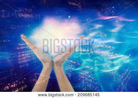Hands gesturing against white background against digitally generated image of quadratic equations with solution