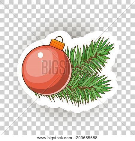 Christmas sticker icons. Stock Vector. Large Christmas balls and sprigs of Christmas tree.